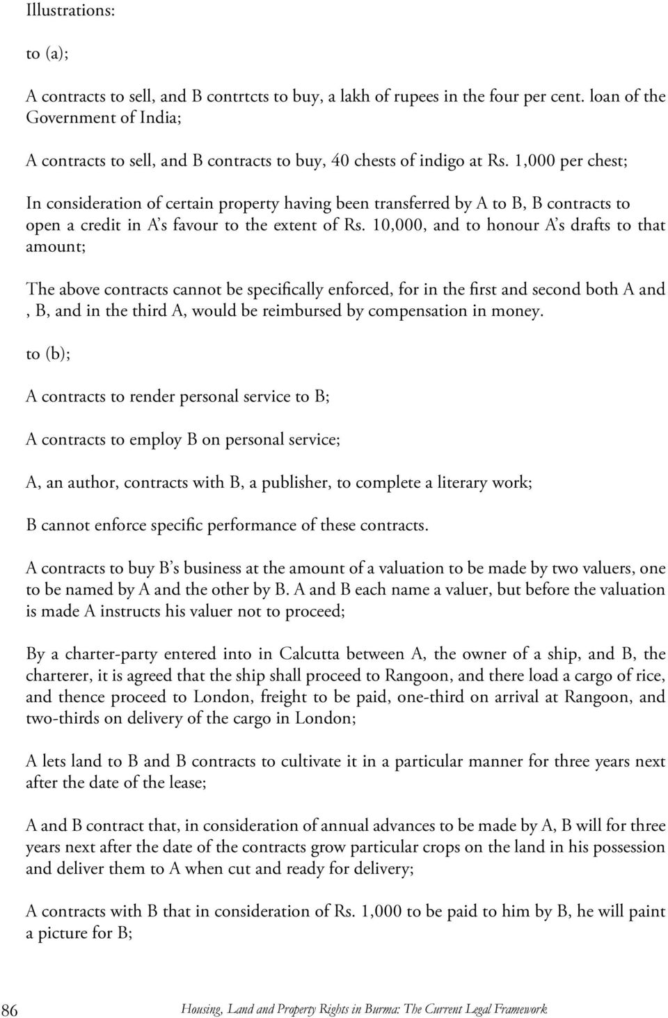 10,000, and to honour A s drafts to that amount; The above contracts cannot be specifically enforced, for in the first and second both A and, B, and in the third A, would be reimbursed by