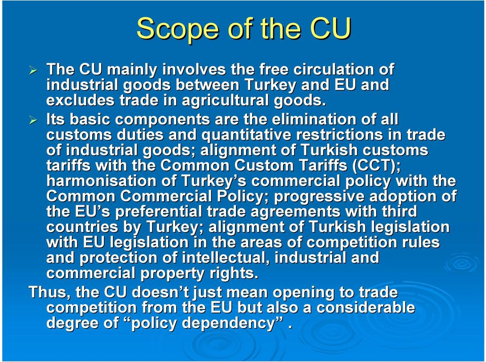 harmonisation of Turkey s commercial policy with the Common Commercial Policy; progressive adoption of the EU s preferential trade agreements with third countries by Turkey; alignment of Turkish