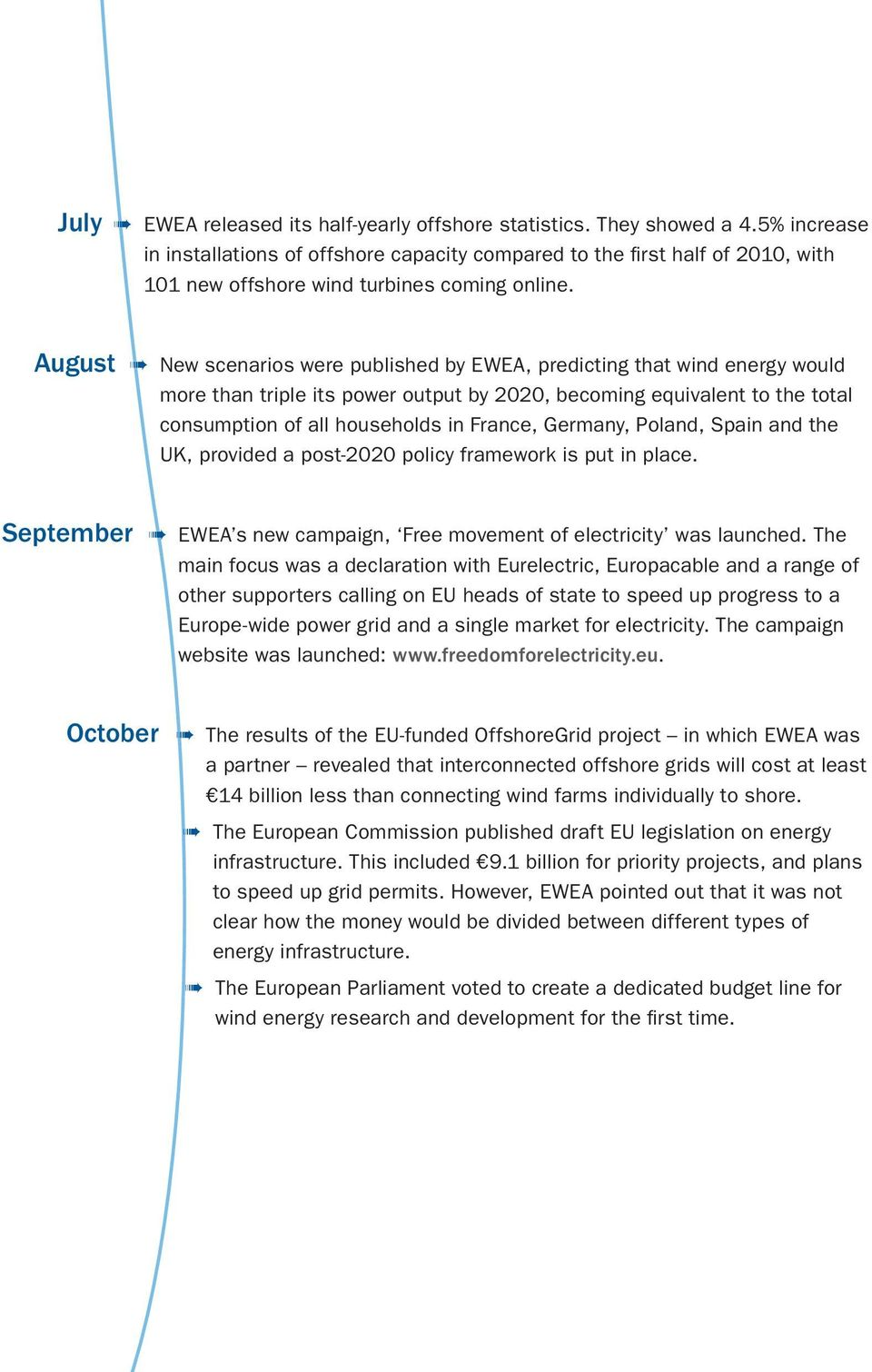 August New scenarios were published by EWEA, predicting that wind energy would more than triple its power output by 2020, becoming equivalent to the total consumption of all households in France,