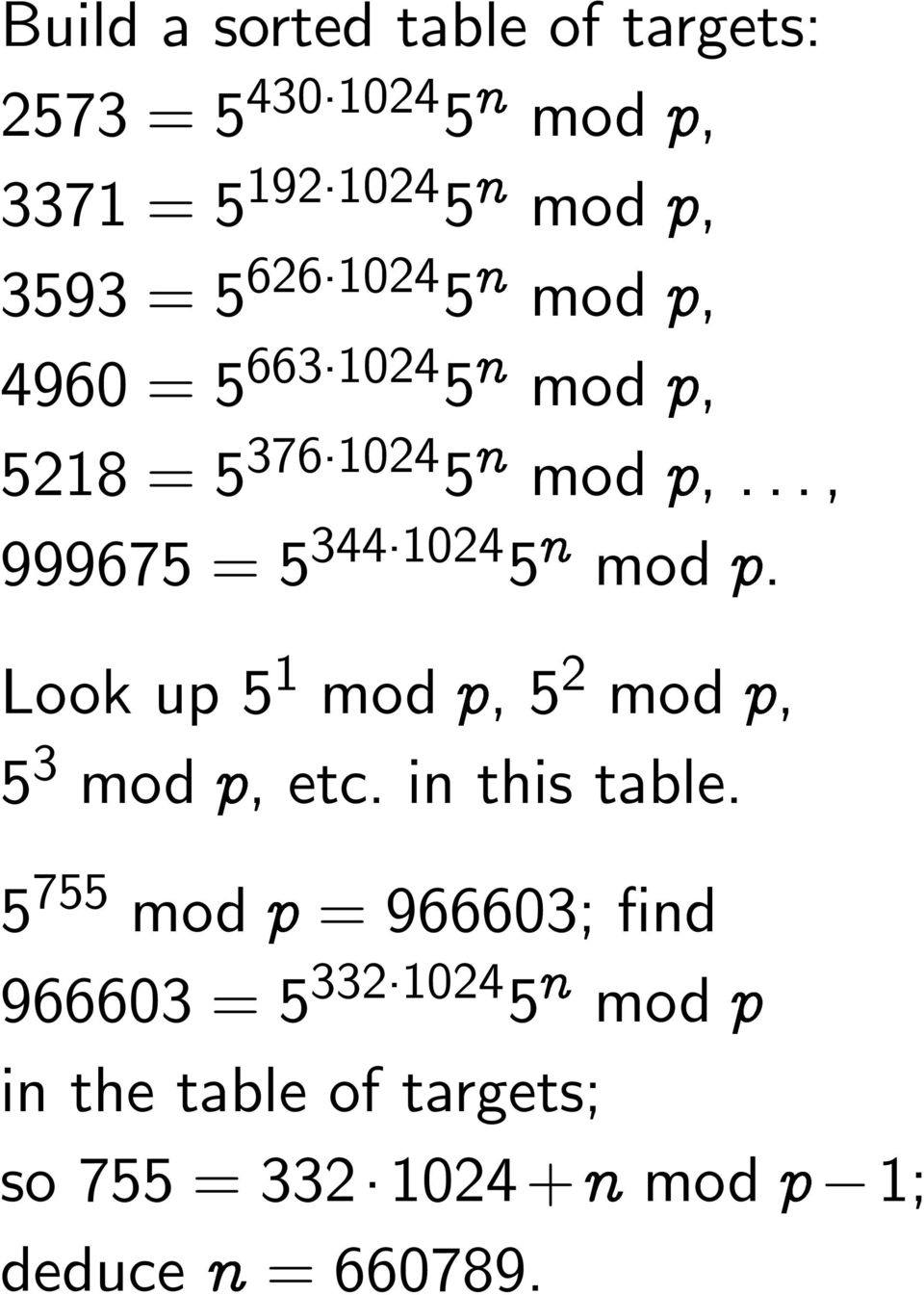 mod Ô. Look up 5 1 mod Ô, 5 2 mod Ô, 5 3 mod Ô, etc. in this table.