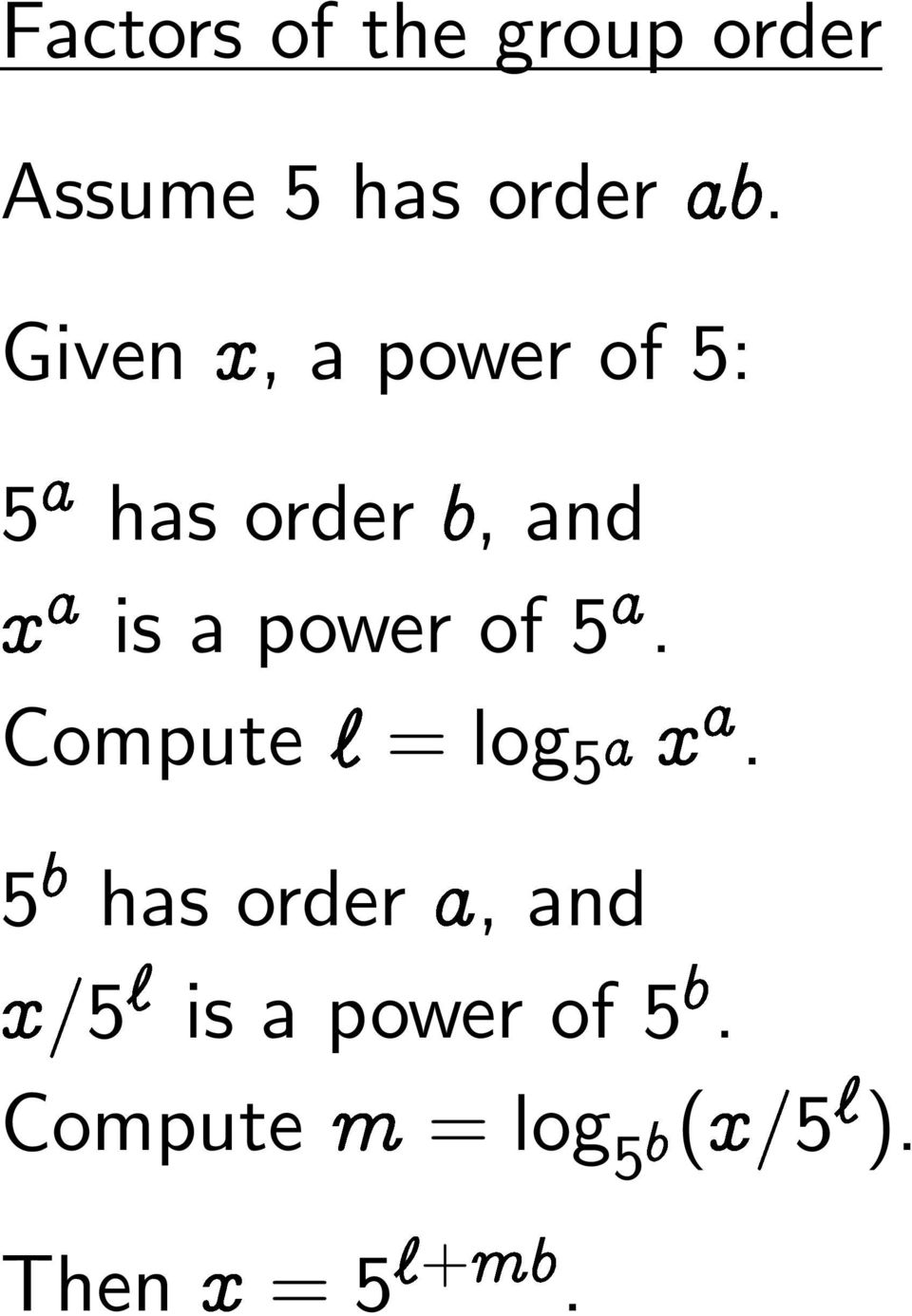 power of 5. Compute = log 5 Ü.