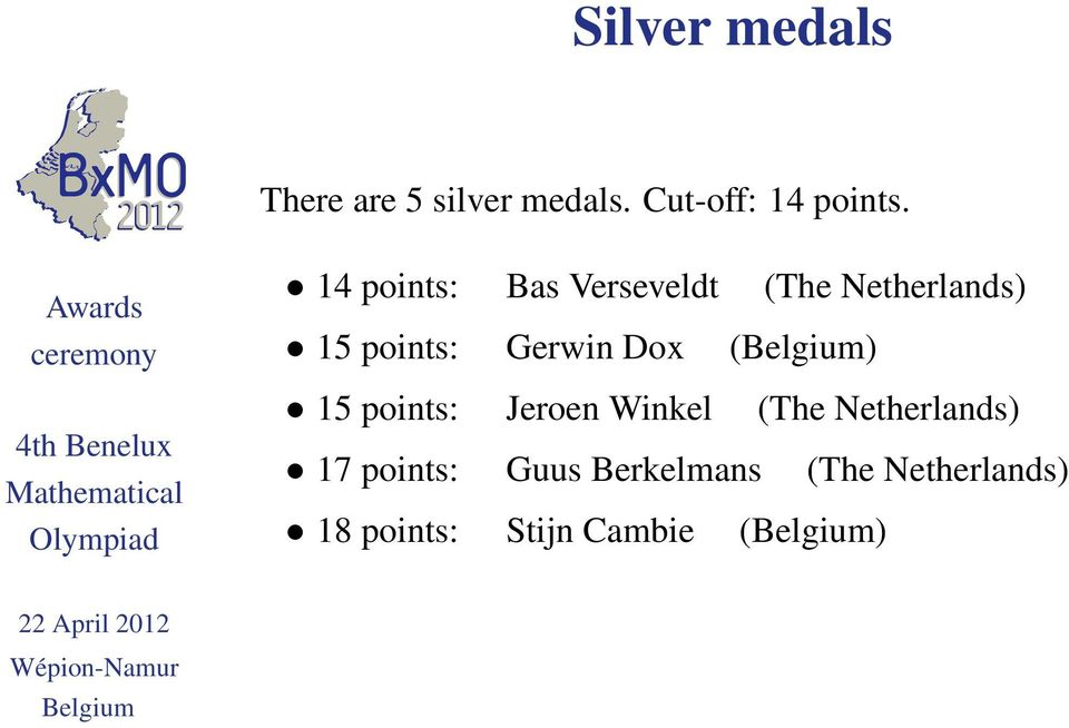 Gerwin Dox () 15 points: Jeroen Winkel (The Netherlands) 17