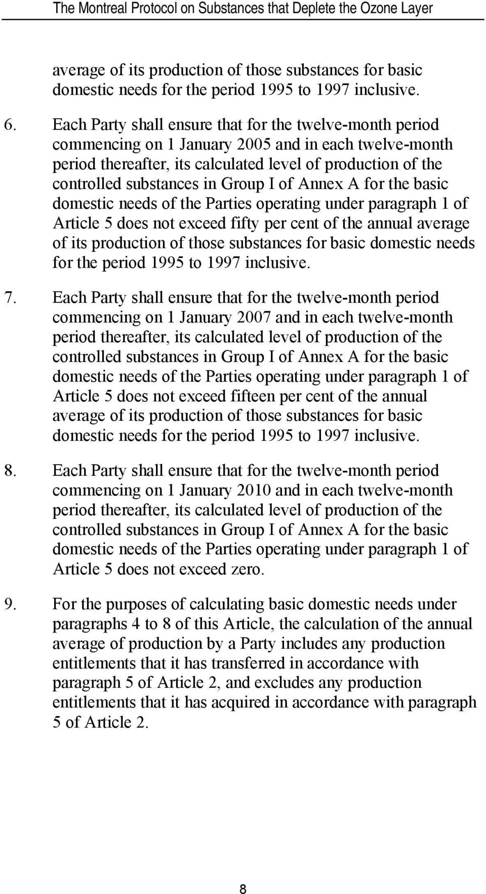 Group I of Annex A for the basic domestic needs of the Parties operating under paragraph 1 of Article 5 does not exceed fifty per cent of the annual average of its production of those substances for