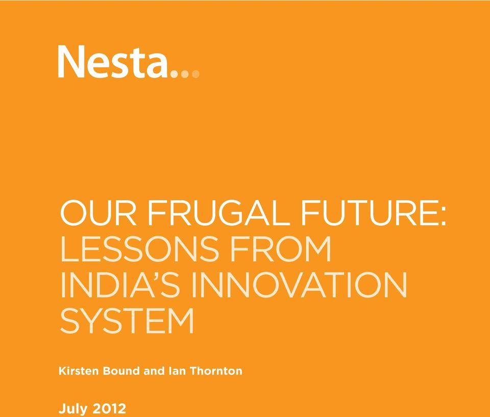 LESSONS FROM INDIA S INNOVATION SYSTEM