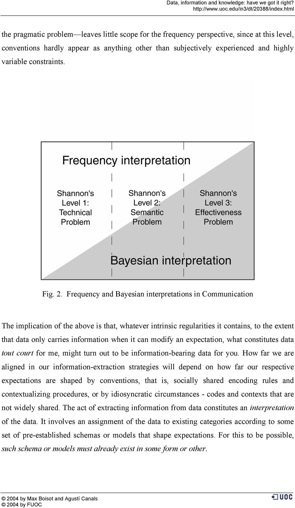 Frequency and Bayesian interpretations in Communication The implication of the above is that, whatever intrinsic regularities it contains, to the extent that data only carries information when it can