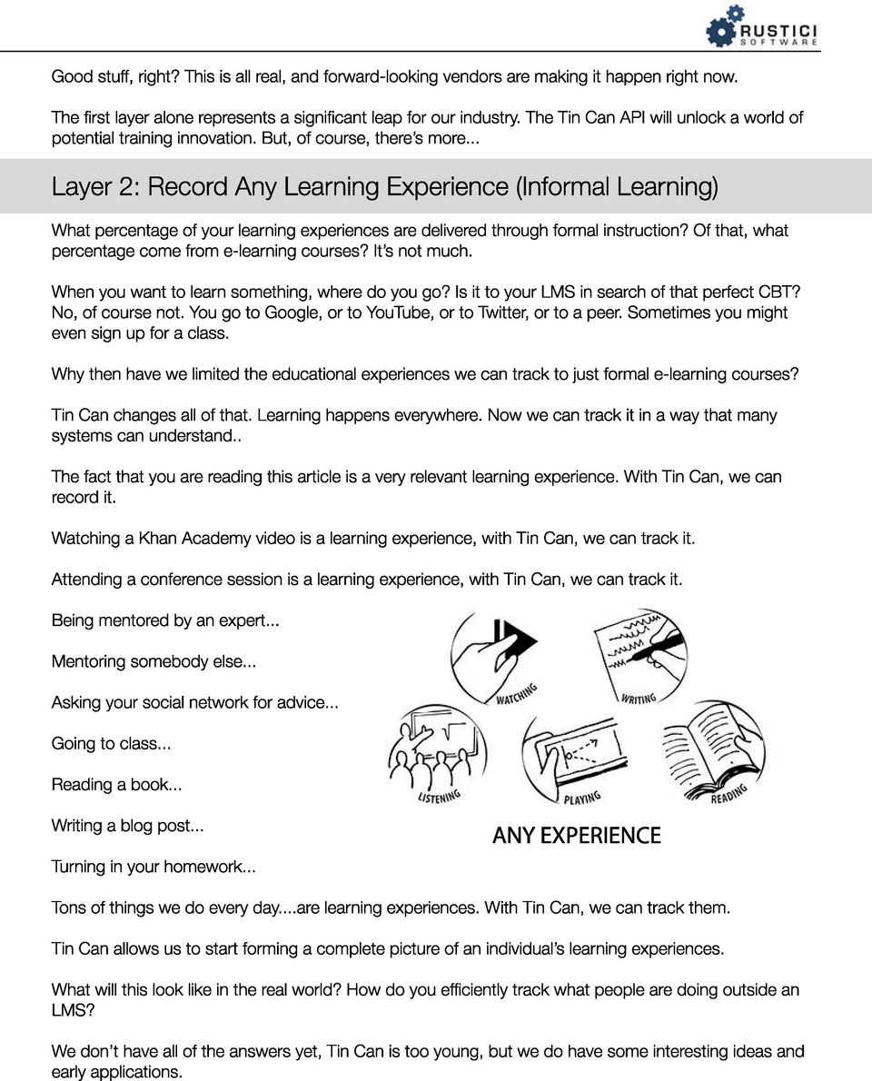 .. Layer 2: Record Any Learning Experience (Informal Learning) What percentage of your learning experiences are delivered through formal instruction?