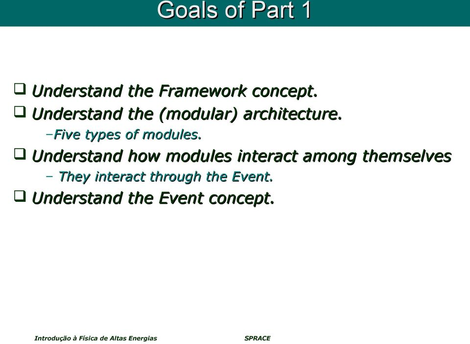 Five types of modules.