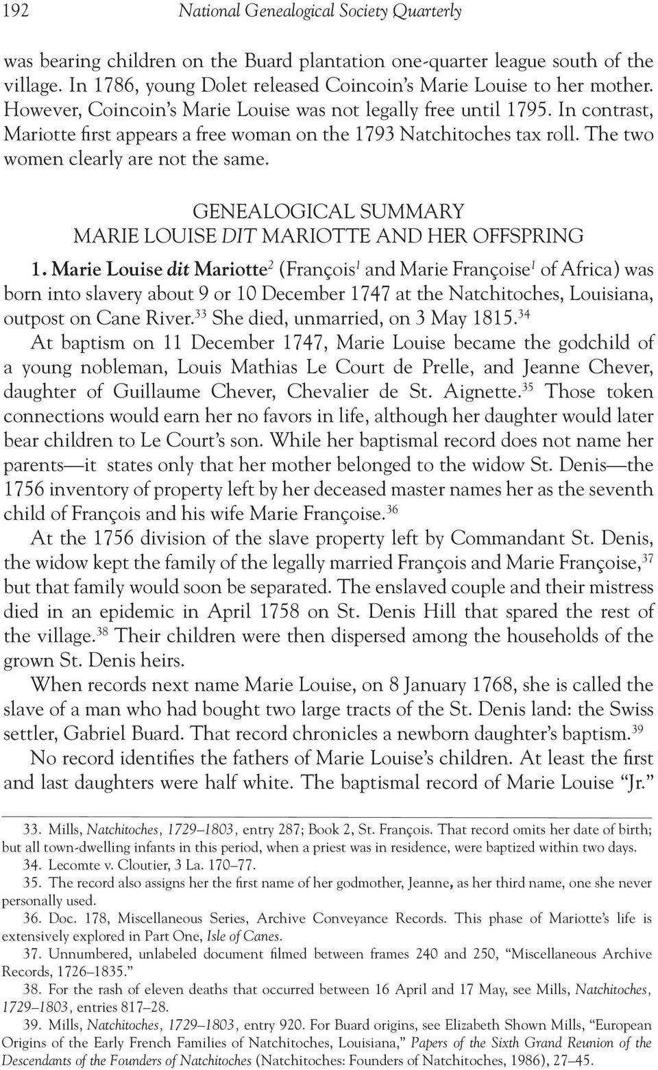 GENEALOGICAL SUMMARY MARIE LOUISE DIT MARIOTTE AND HER OFFSPRING 1.