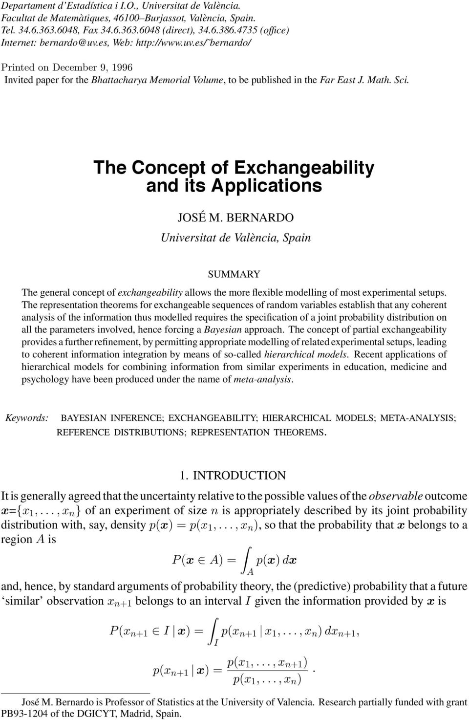 The Concept of Exchangeability and its Applications JOSÉ M.