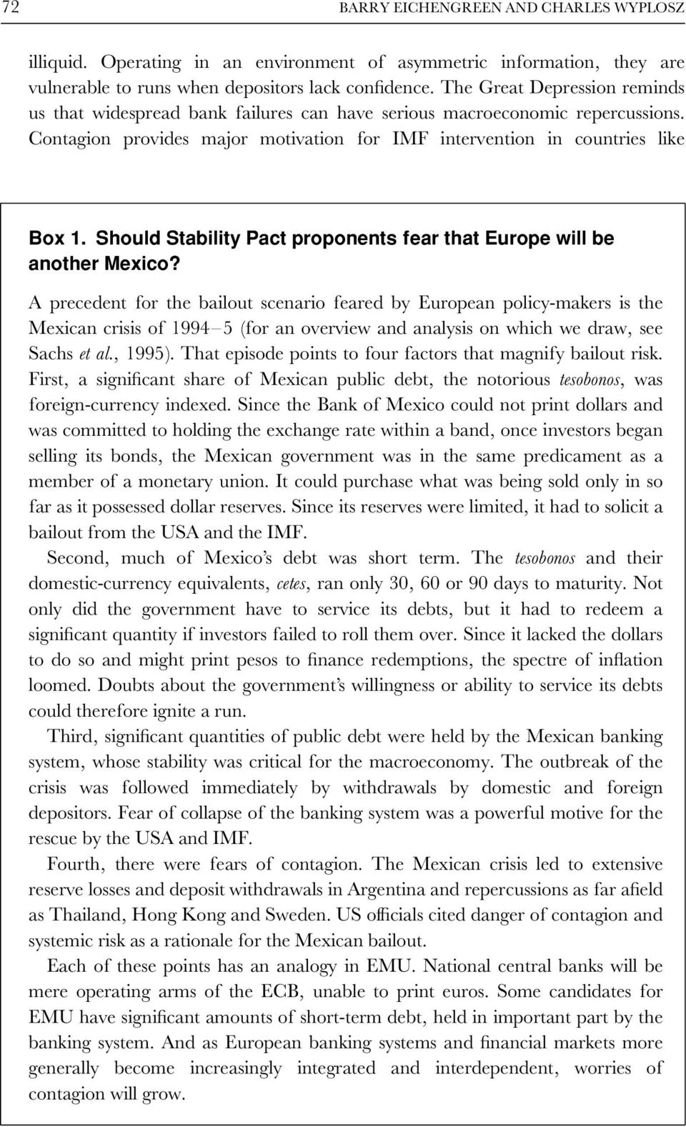 Should Stability Pact proponents fear that Europe will be another Mexico?
