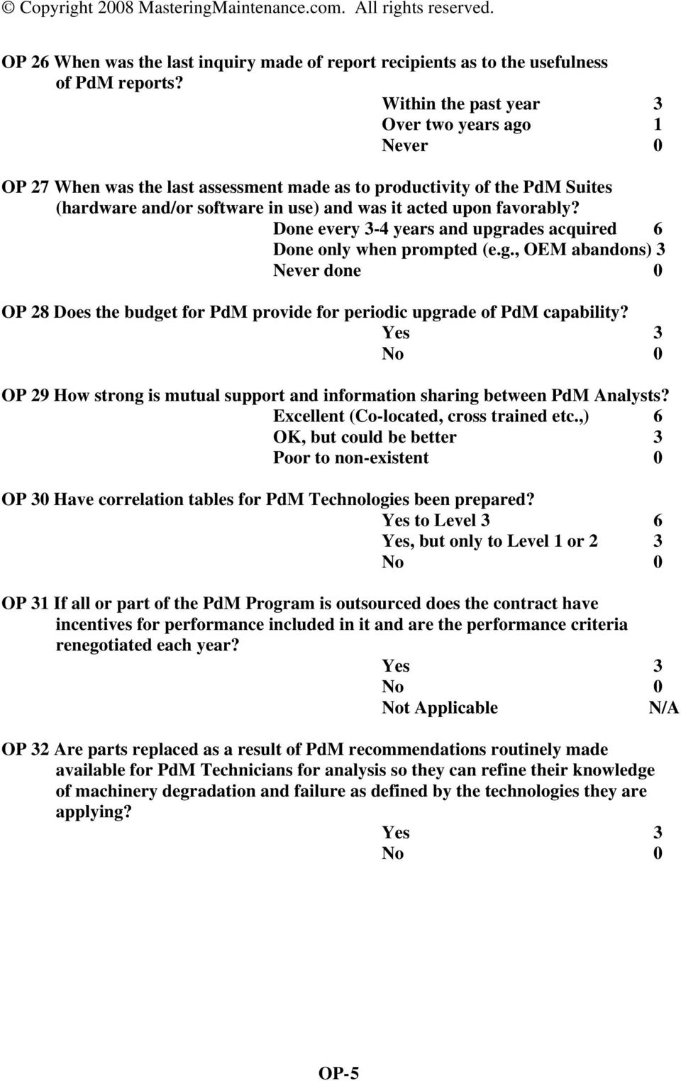 Done every 3-4 years and upgrades acquired 6 Done only when prompted (e.g., OEM abandons) 3 Never done 0 OP 28 Does the budget for PdM provide for periodic upgrade of PdM capability?
