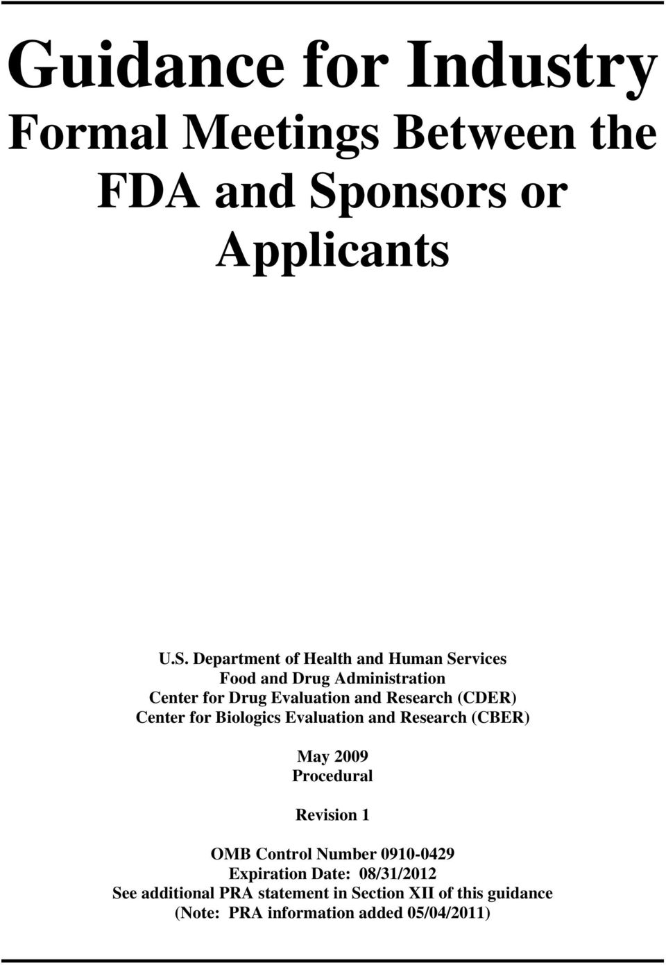 Department of Health and Human Services Food and Drug Administration Center for Drug Evaluation and Research