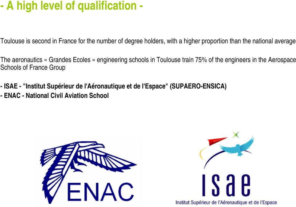 schools in Toulouse train 75% of the engineers in the Aerospace Schools of France Group - ISAE -