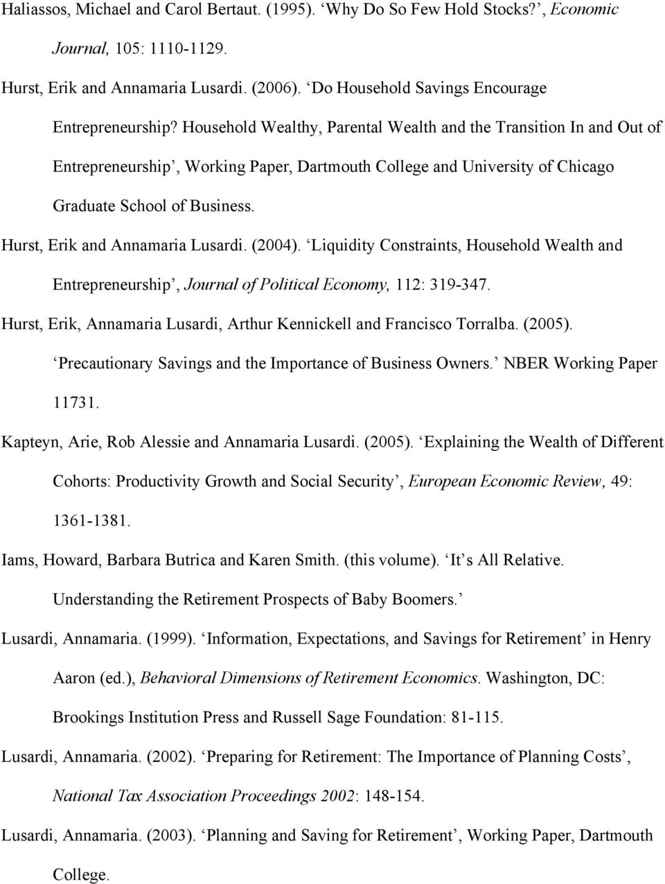 Hurst, Erik and Annamaria Lusardi. (2004). Liquidity Constraints, Household Wealth and Entrepreneurship, Journal of Political Economy, 112: 319-347.