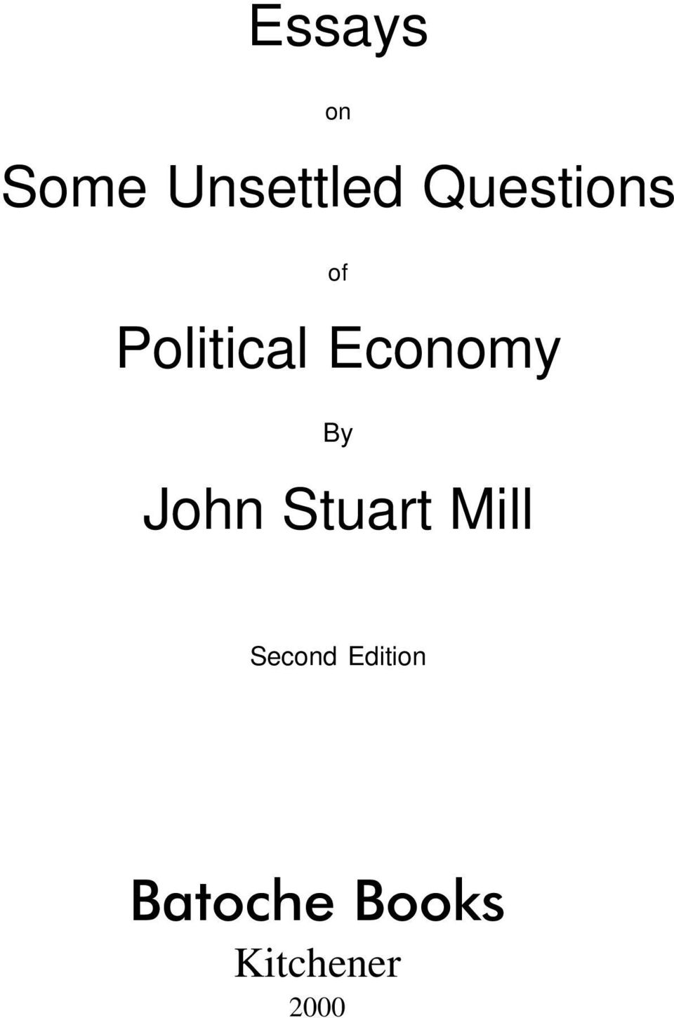 Economy By John Stuart Mill