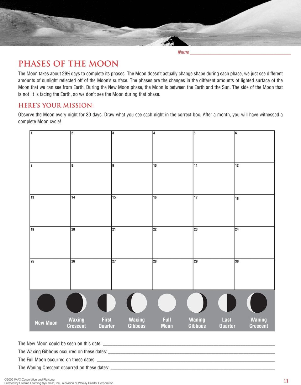 The phases are the changes in the different amounts of lighted surface of the Moon that we can see from Earth. During the New Moon phase, the Moon is between the Earth and the Sun.