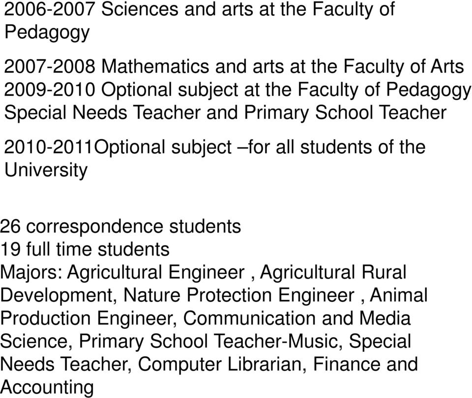 correspondence students 19 full time students Majors: Agricultural Engineer, Agricultural Rural Development, Nature Protection Engineer,