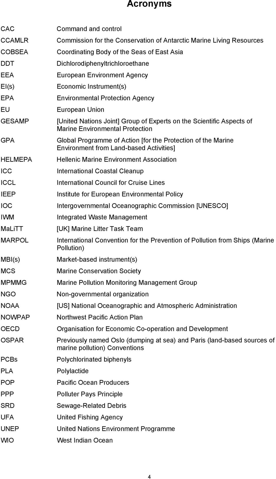 Instrument(s) Environmental Protection Agency European Union [United Nations Joint] Group of Experts on the Scientific Aspects of Marine Environmental Protection Global Programme of Action [for the