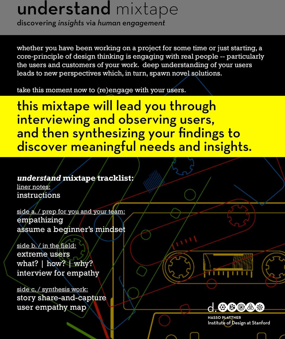take this moment now to (re)engage with your users. this mixtape will lead you through interviewing and observing users, and then synthesizing your findings to discover meaningful needs and insights.