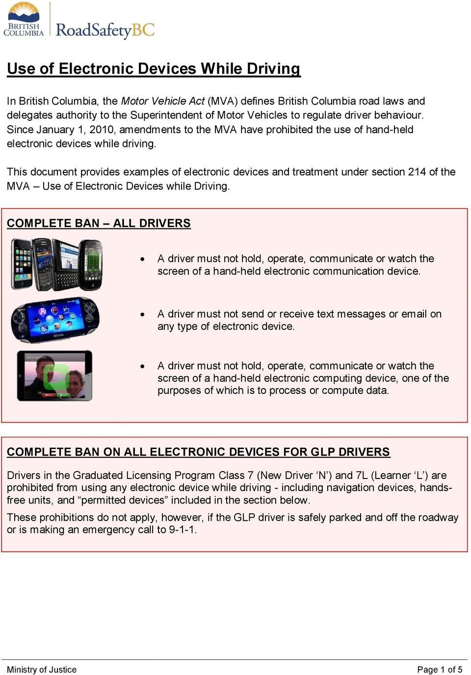 This document provides examples of electronic devices and treatment under section 214 of the MVA Use of Electronic Devices while Driving.