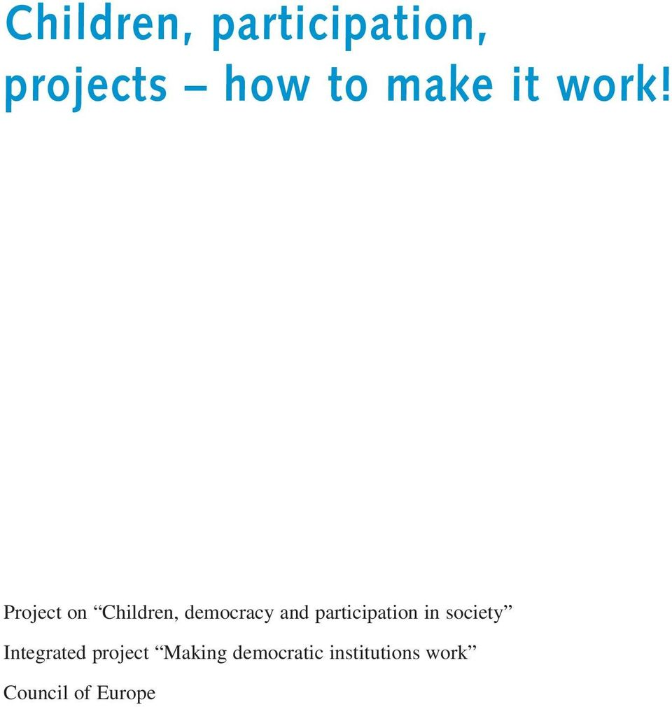 Project on Children, democracy and