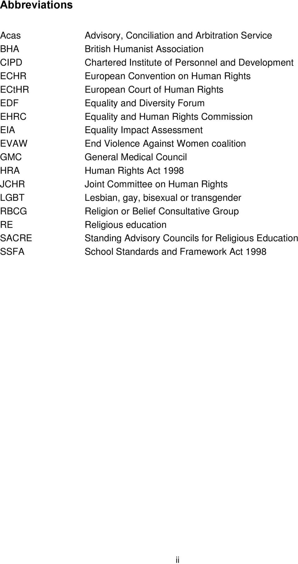 EVAW End Violence Against Women coalition GMC General Medical Council HRA Human Rights Act 1998 JCHR Joint Committee on Human Rights LGBT Lesbian, gay, bisexual or