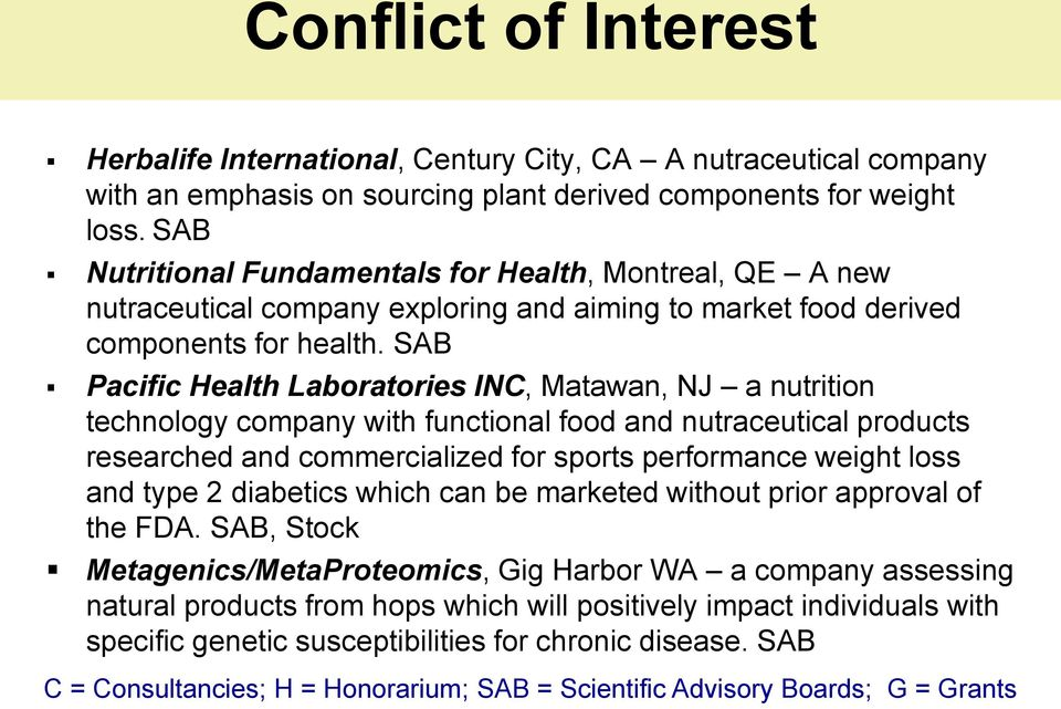 SAB Pacific Health Laboratories INC, Matawan, NJ a nutrition technology company with functional food and nutraceutical products researched and commercialized for sports performance weight loss and