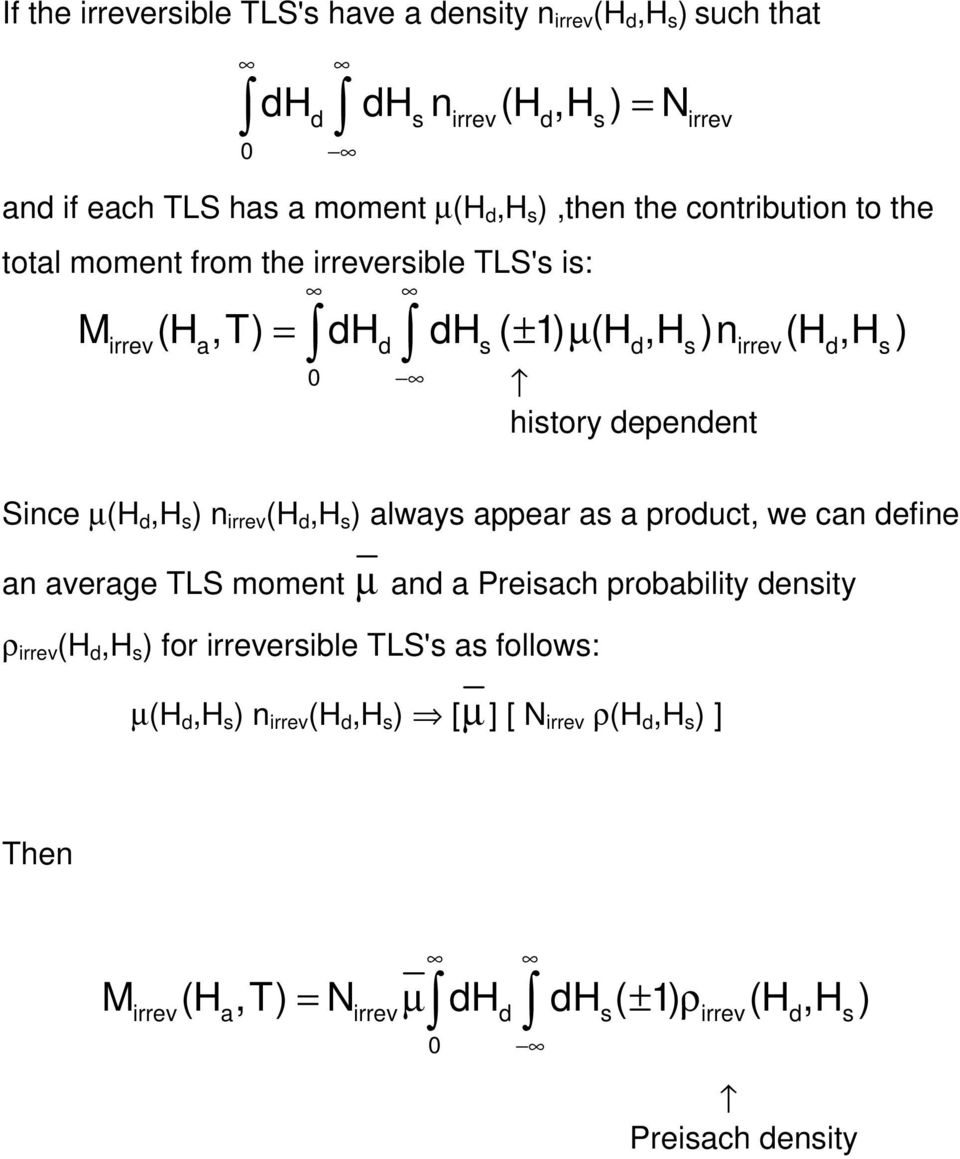 d,h s ) n irrev (H d,h s ) always appear as a product, we can define an average TLS moment µ and a Preisach probability density ρ irrev (H d,h s ) for