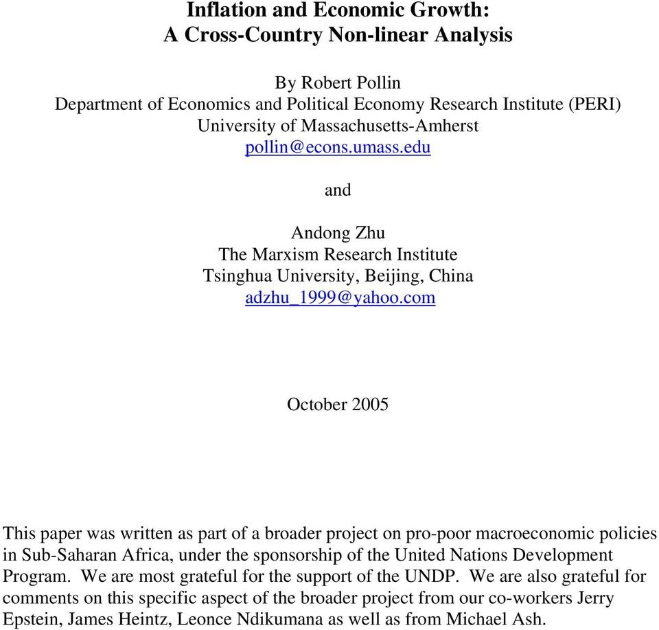 com October 2005 This paper was written as part of a broader project on pro-poor macroeconomic policies in Sub-Saharan Africa, under the sponsorship of the United Nations Development