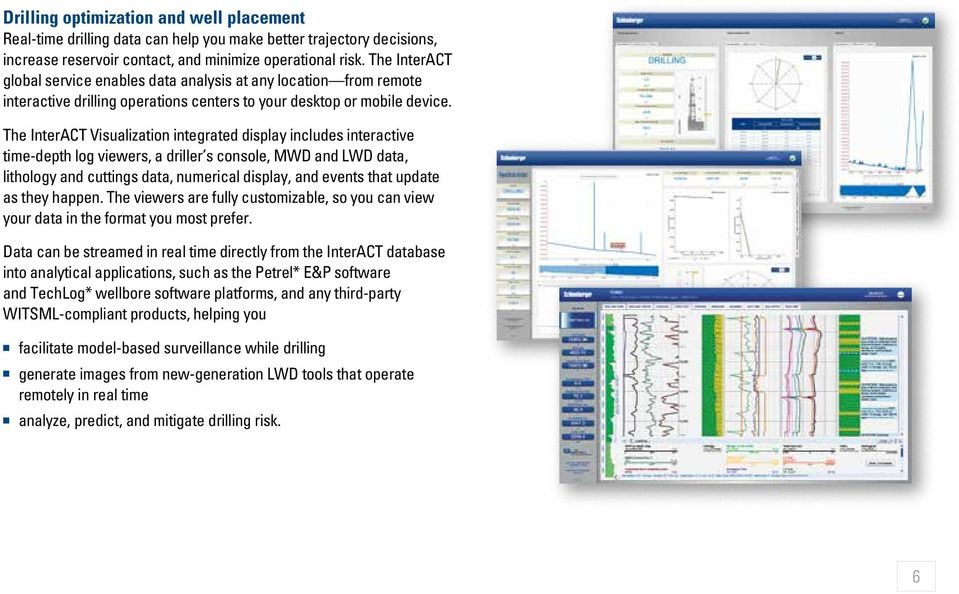 The InterACT Visualization integrated display includes interactive time-depth log viewers, a driller s console, MWD and LWD data, lithology and cuttings data, numerical display, and events that