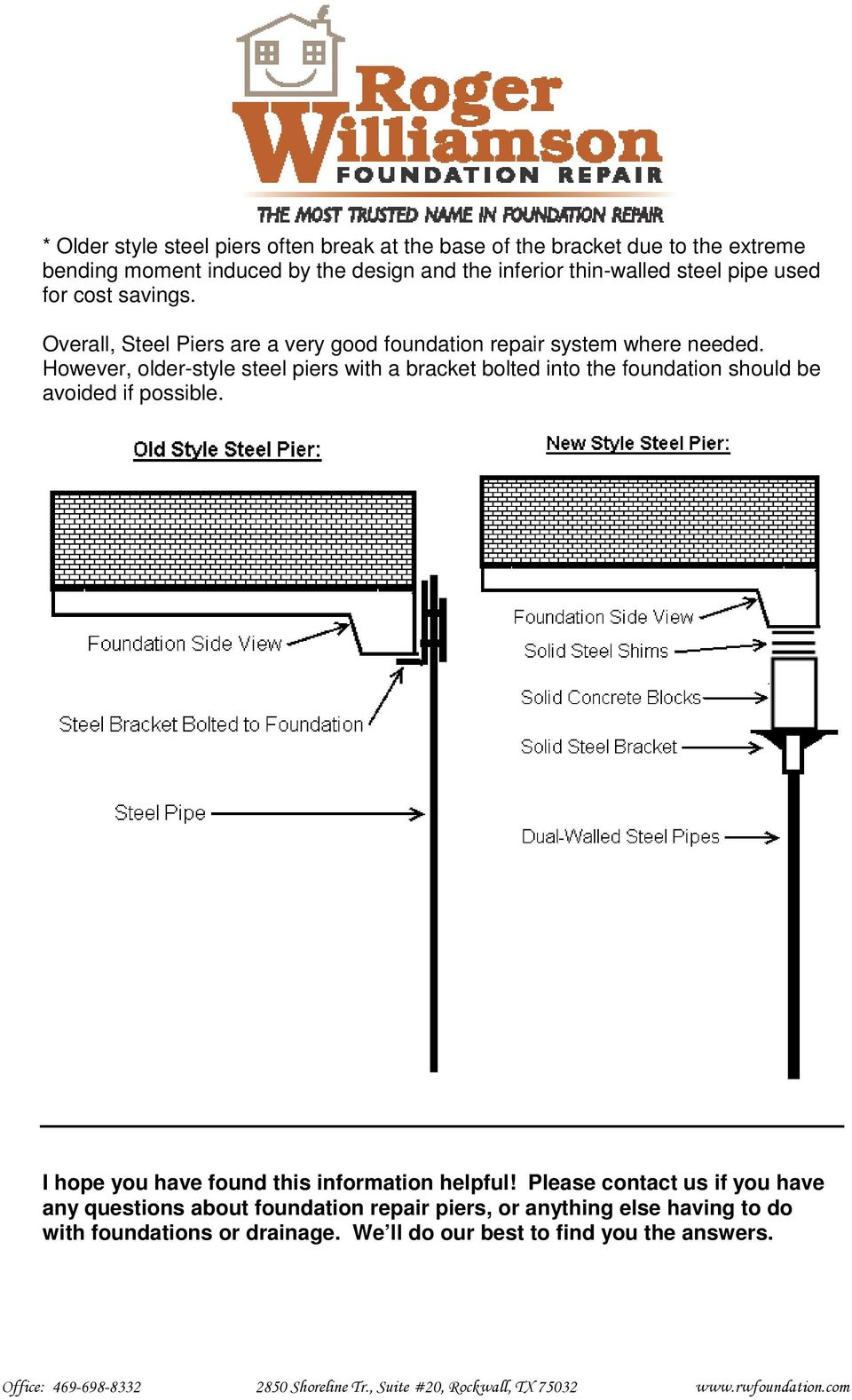 However, older-style steel piers with a bracket bolted into the foundation should be avoided if possible.