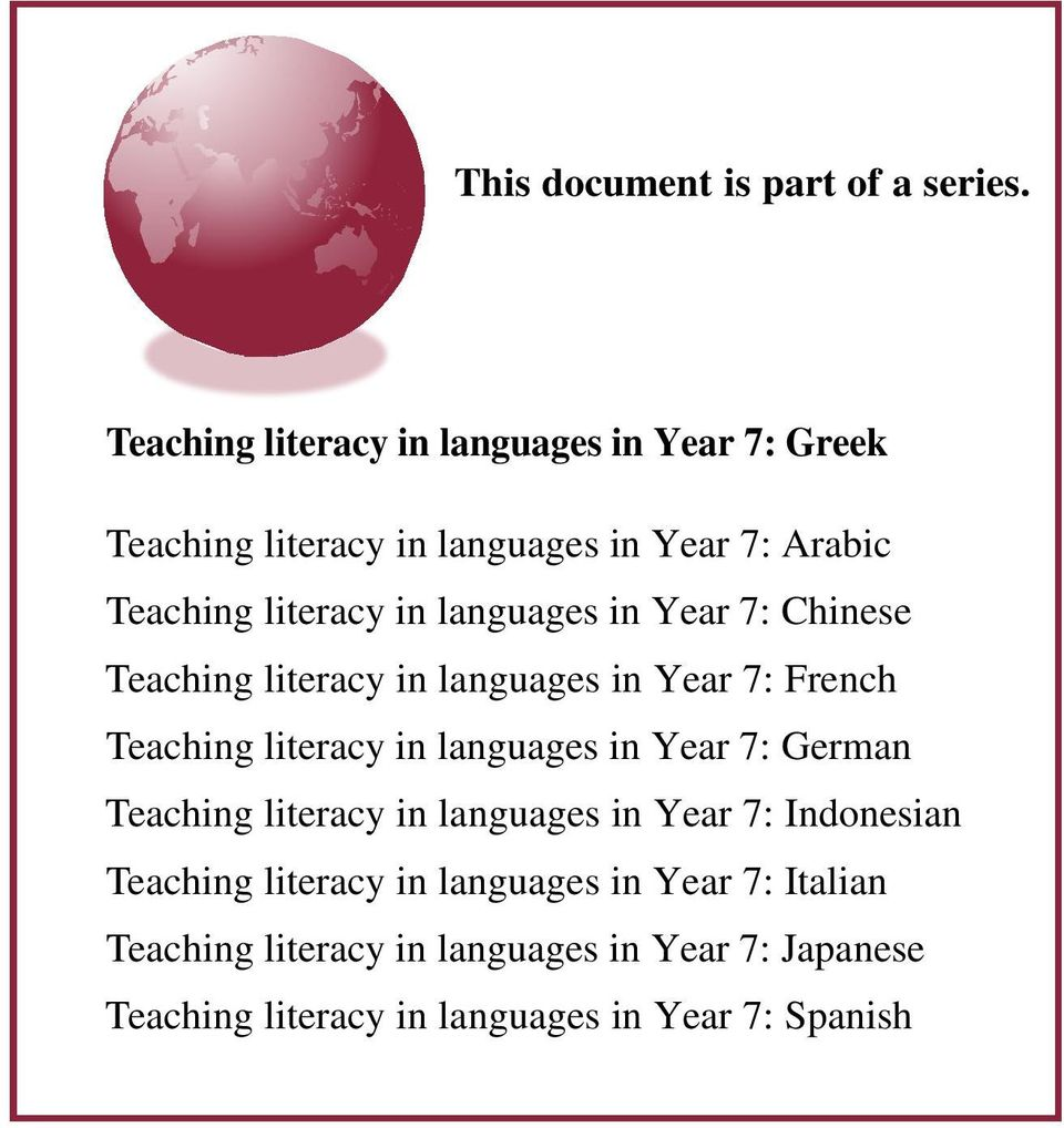 languages in Year : Chinese Teaching literacy in languages in Year : French Teaching literacy in languages in Year :