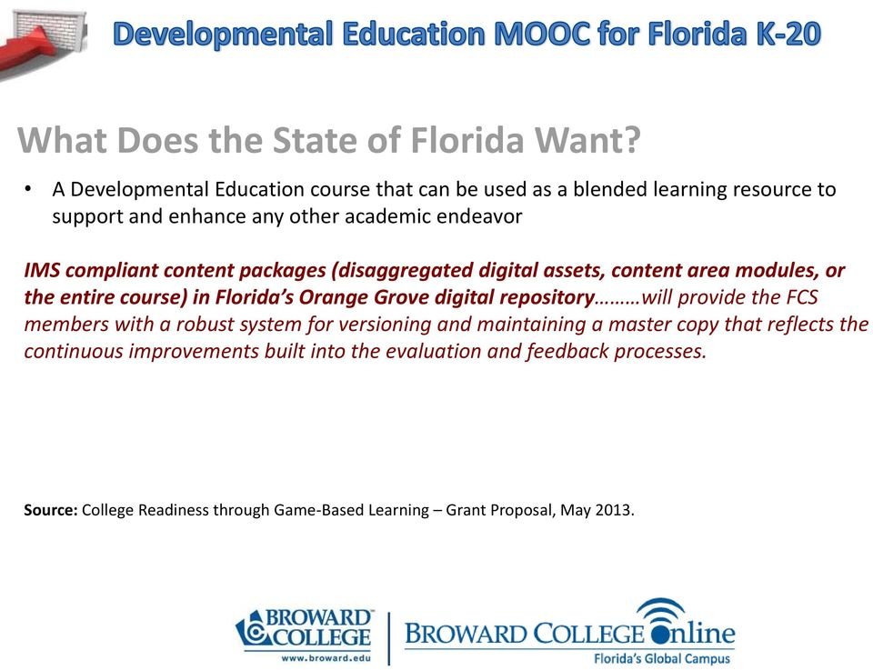content packages (disaggregated digital assets, content area modules, or the entire course) in Florida s Orange Grove digital repository will