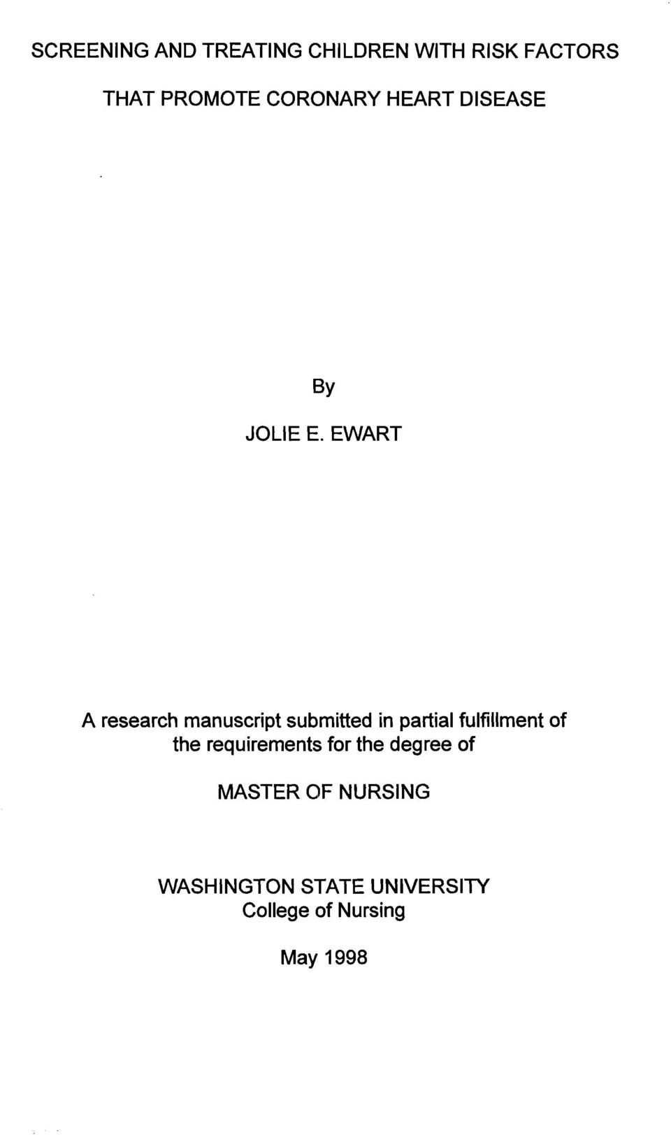 EWART A research manuscript submitted in partial fulfillment of the