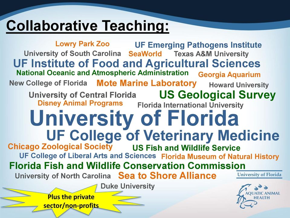UF College of Liberal Arts and Sciences UF Emerging Pathogens Institute Texas A&M University Florida International University US Fish and Wildlife Service Florida Fish and Wildlife