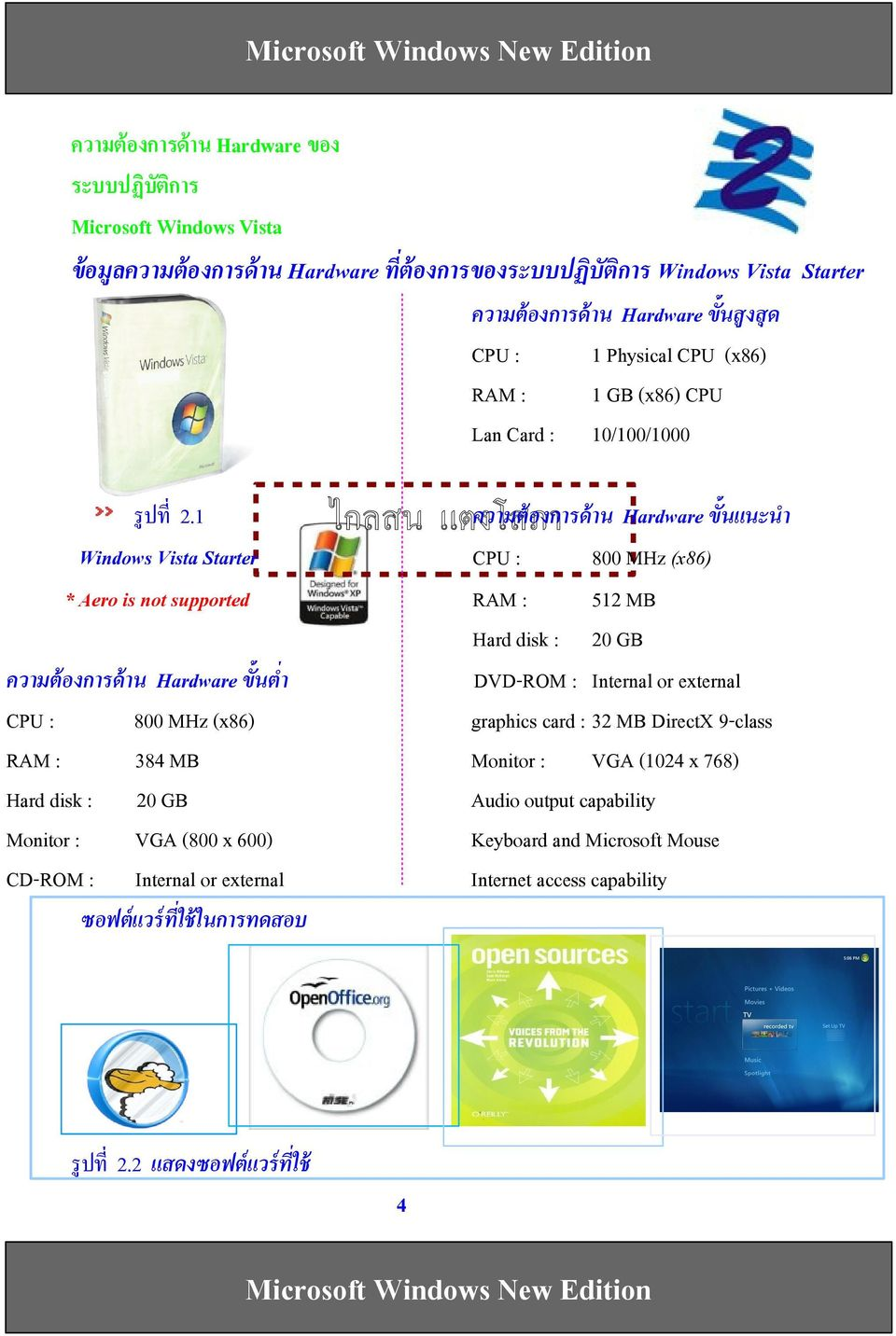 1 Windows Vista Starter * Aero is not supported ความตองการดาน Hardware ขนแนะนFา CPU : 800 MHz (x86) RAM : 512 MB Hard disk : 20 GB DVD-ROM : Internal or external graphics card : 32 MB