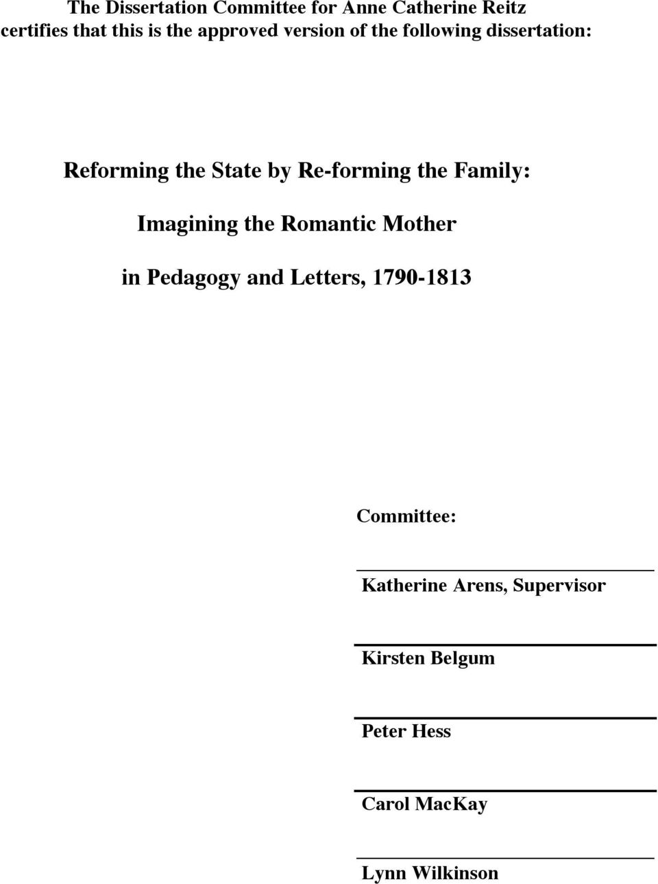the Family: Imagining the Romantic Mother in Pedagogy and Letters, 1790-1813
