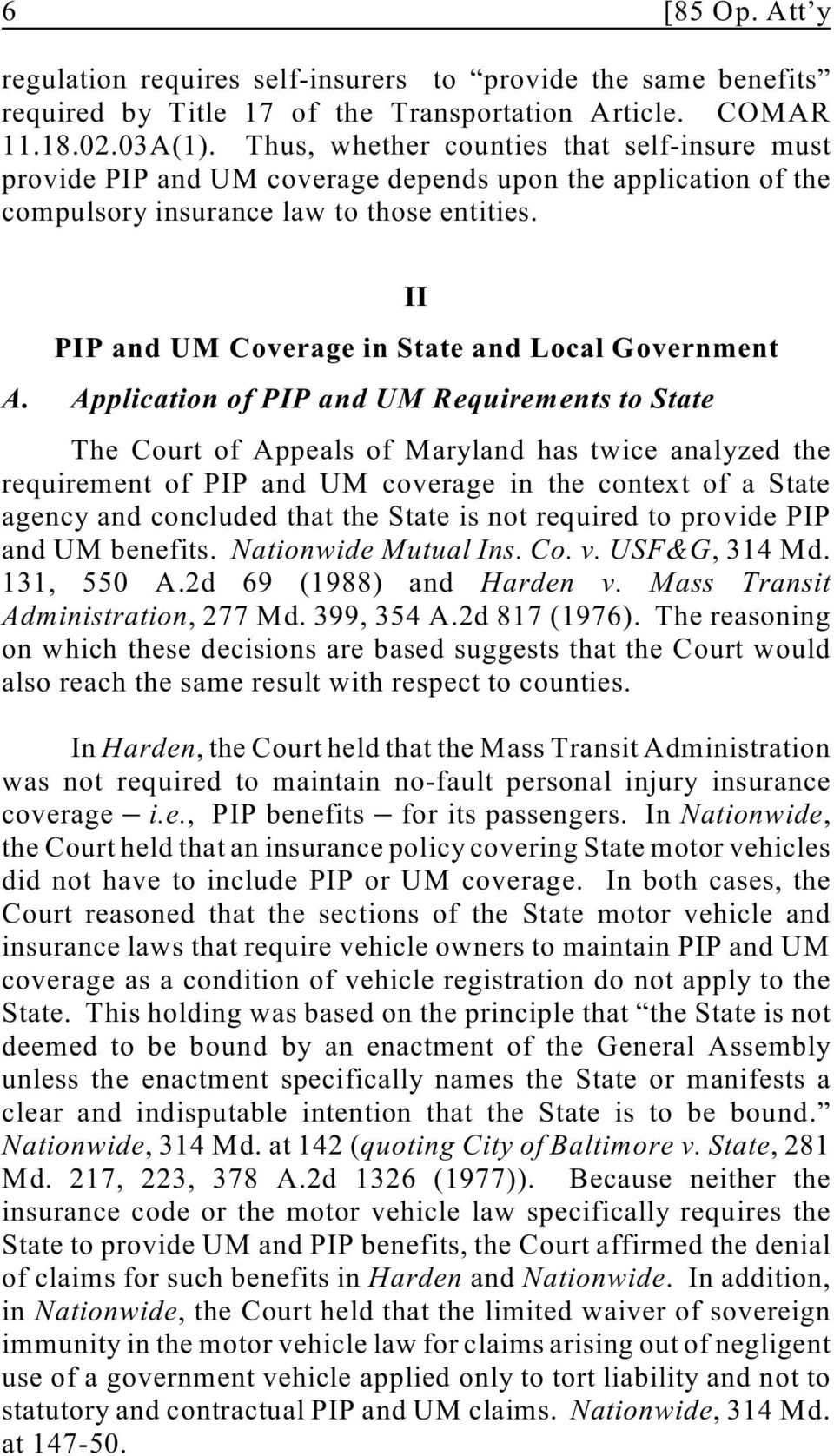 II PIP and UM Coverage in State and Local Government A.