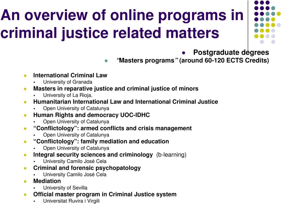 Humanitarian International Law and International Criminal Justice Open University of Catalunya Human Rights and democracy UOC-IDHC Open University of Catalunya Conflictology : armed conflicts and