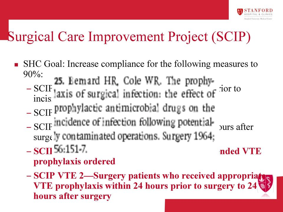 discontinued within 24 hours after surgery time SCIP VTE 1 Surgery patients with recommended VTE prophylaxis ordered
