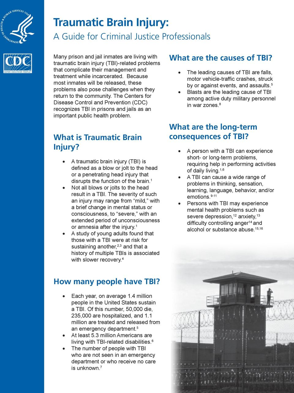 The Centers for Disease Control and Prevention (CDC) recognizes TBI in prisons and jails as an important public health problem. What is Traumatic Brain Injury?