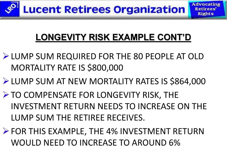 LONGEVITY RISK, THE INVESTMENT RETURN NEEDS TO INCREASE ON THE LUMP SUM THE RETIREE