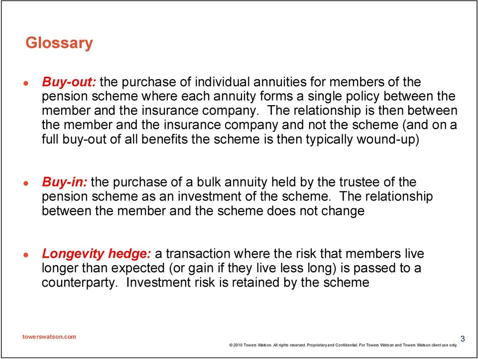 purchase of a bulk annuity held by the trustee of the pension scheme as an investment of the scheme.