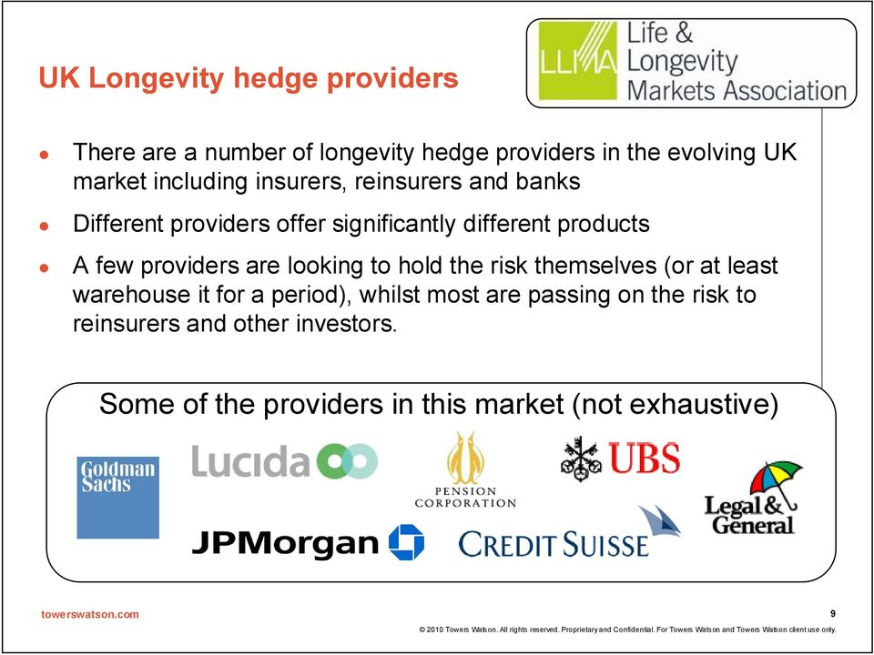 providers are looking to hold the risk themselves (or at least warehouse it for a period), whilst most are