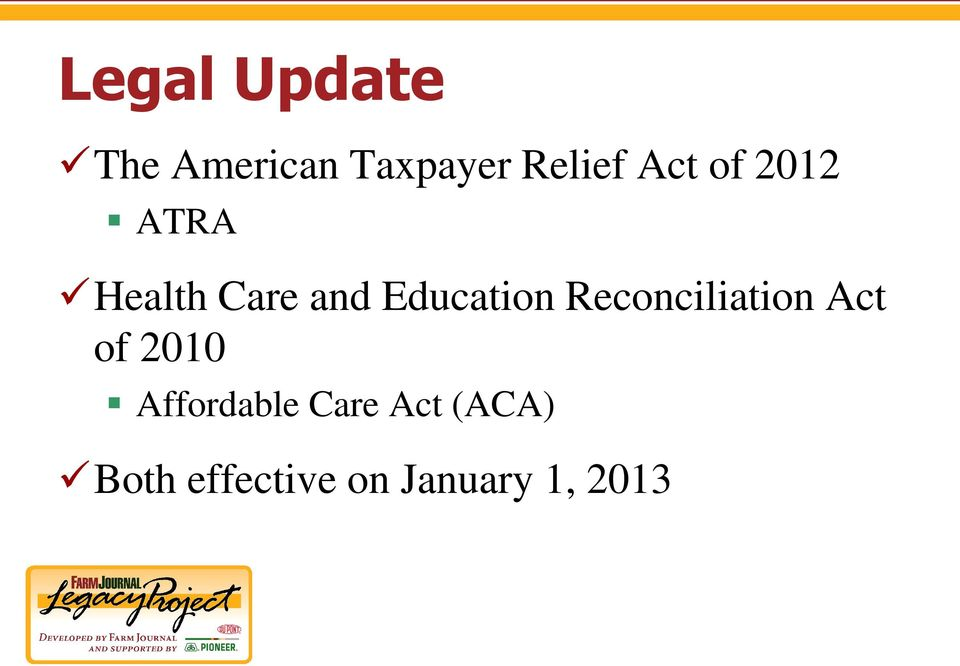 Reconciliation Act of 2010 Affordable Care