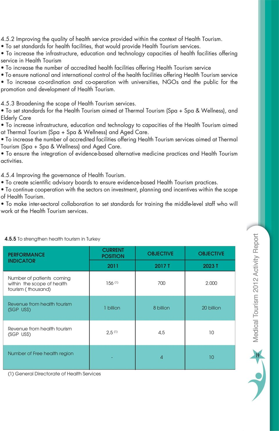 4 Improving the governance of Health Tourism. of Health Tourism. work at the Health Tourism services. 4.5.