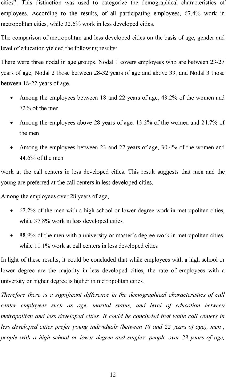 The comparison of metropolitan and less developed cities on the basis of age, gender and level of education yielded the following results: There were three nodal in age groups.