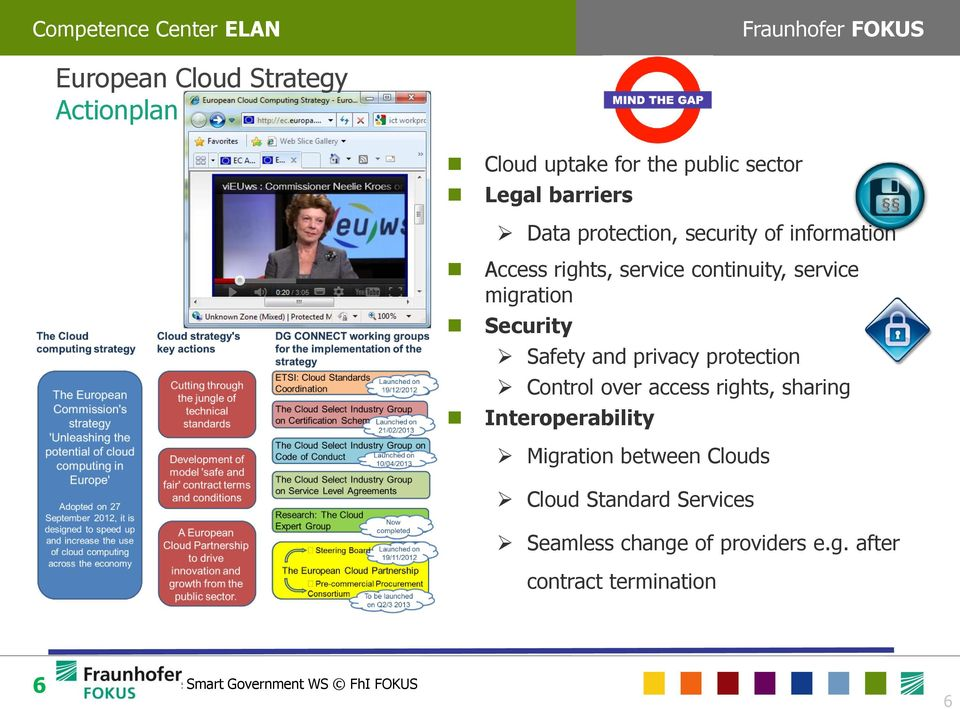 protection Control over access rights, sharing Interoperability Migration between Clouds Cloud Standard