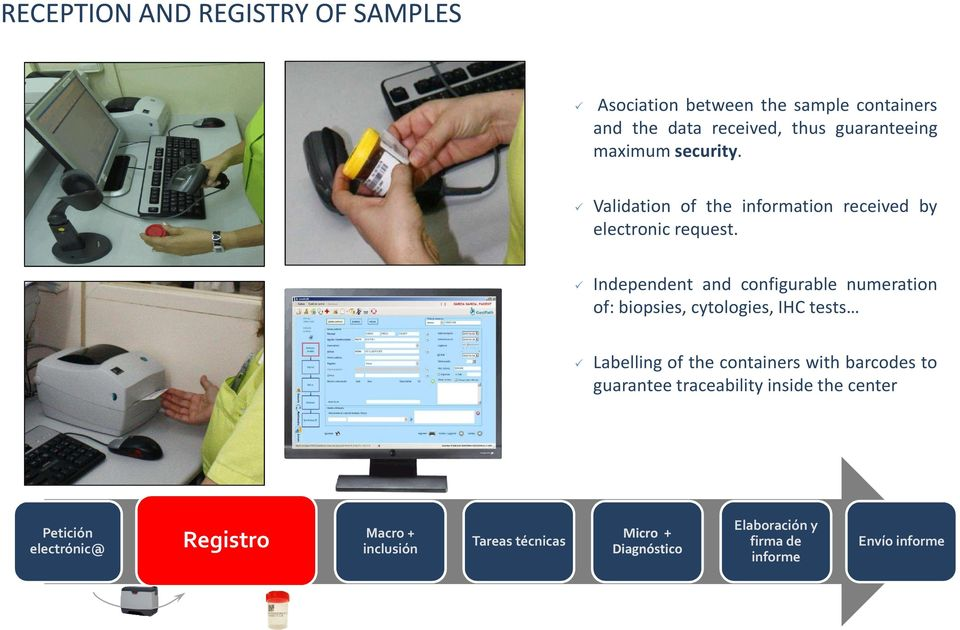 Independent and configurable numeration of: biopsies, cytologies, IHC tests Labelling of the containers with barcodes to