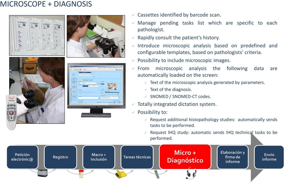 From microscopic analysis the following data are automatically loaded on the screen: Text of the microscopic analysis generated by parameters. Text of the diagnosis. SNOMED/ SNOMED-CT codes.